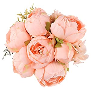 TYMG Home Vintage Artificial Peony Silk Flowers Bouquet Home Wedding Decoration (Spring Orange-Pink)