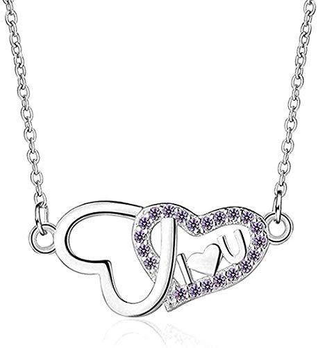 NC110 Collar para Mujeres, Hombres, Collar, Micro circón, Doble Amor, corazón, Collar para Mujeres, Cadena de clavícula Corta, Colgante, Collar, niñas, niños, Regalo