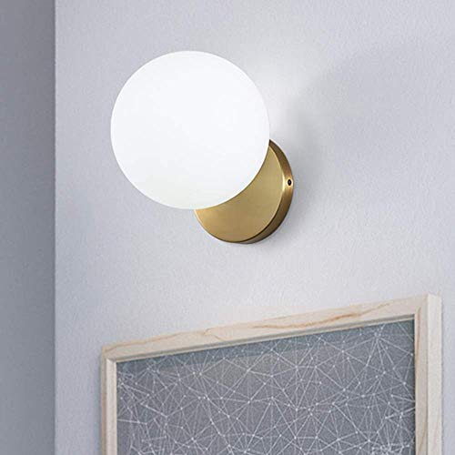 OUPPENG Moderna de Estilo Europeo Nordic dormitorio de noche Lámpara de pared moderna minimalista Estudio Sala Baño Espejo Faros pasillo del pasillo del pórtico de cristal redondo de oro de la lámpara