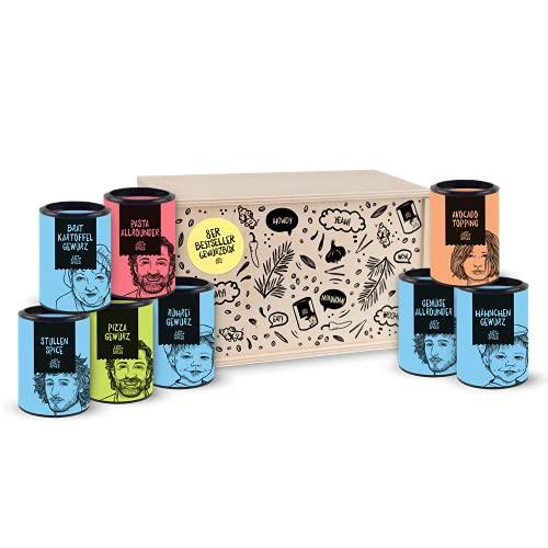 Just Spices Top 8 Gewürz-Set I Geschenkset in schöner Holzbox I 8 unserer beliebtesten Gewürze in einer Box I Geschenk für Männer und Frauen