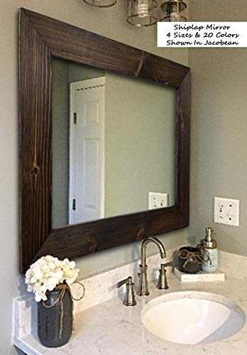 Shiplap Large Wood Framed Mirror Available in 4 Sizes and 20 Colors: Shown in Jacobean Stain - Mirror for Wall - Rustic Decor - Rectangular Mirror - Vanity Bathroom Mirror - Wall Mirror