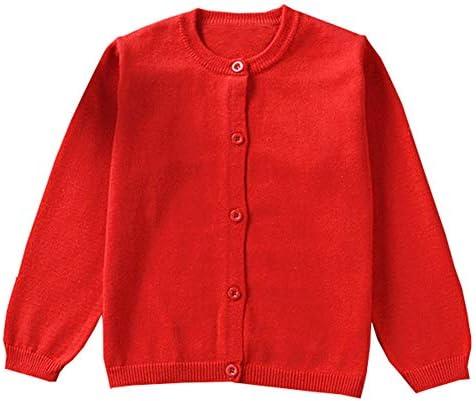 GSVIBK Girls Cardigan Long Sleeve Crewneck Cardigans Solid Knit Button Sweater Cardigan Baby product image