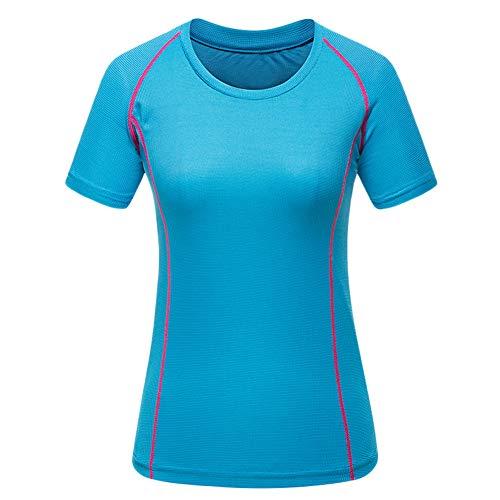 Herren/Frauen Kompressions-Shirt Kurzarm Funktionshirt T-Shirts Sport Workout Gym Atmungsaktiv Himmelblau-Frauen S