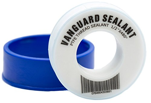 PTFE Plumbers Water Sealant Thread Tape 460' Length 1/2' Width White 1 Pack by Vanguard Sealants Perfect for Shower Heads and Pipe Threads