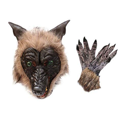 PRETYZOOM - Mscara y guantes para Halloween, diseo de cabeza de lobo, color marrn