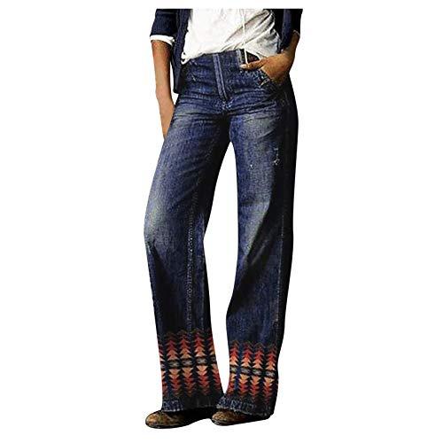 Verano Nueva Marca De Moda Hip-Hop Estampado Jeans Lavados Sueltos Pantalones De Mezclilla De Pierna Ancha Pantalones Casuales De Mujer De Moda