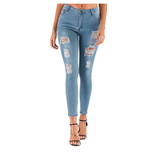Pantalon Moulant à la Mode pour Femmes, Chic Jeans déchiqueté Skinny Bleu rétro Trou Pantalons Crayon Moulant Automne Hiver Dames Trousers Femme Pants Jeans Slim fit Stretch