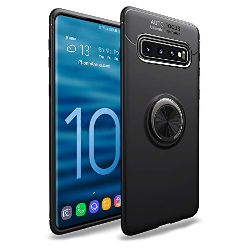 NALIA Ring Hülle kompatibel mit Samsung Galaxy S10, Schutzhülle Cover magnetische Silikon Handyhülle für KFZ-Halterung 360-Grad Finger-Halter, Dünnes Hülle Ständer Slim Etui Bumper, Farbe:Schwarz