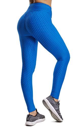 FITTOO Leggins Sportivi Donna Push up Pantaloni Tuta Yoga Pants Sexy Fitness Ginnastica Alta Elastico, M, Blu