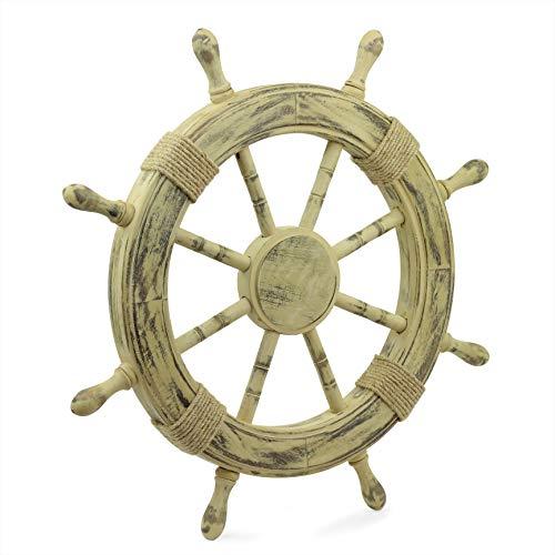 Nagina International Roue Antique Navire Rusticn Nautical | Belle Sculpture Murale (36 Pouces)