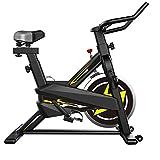 Bicicleta Estática Cinturón con Magnética para Interiores,Pantalla LCD,Manillares de Asiento Cómodos Ajustables,Entrenamiento Usado para en Casa Bicicleta Ejercicio,Amarillo