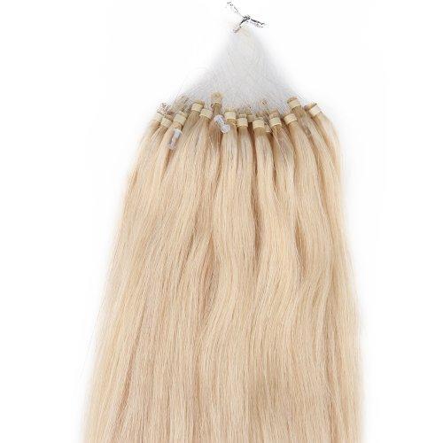 Beauty7 100 Extension de Cheveux Naturel 46 CM EASY LOOP Anneaux Pose a Froid Couleur #24 Blond Clair Poids 50g
