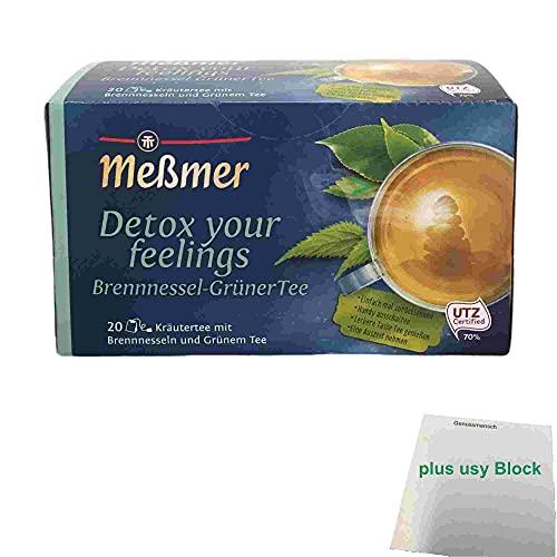 Meßmer detox your feelings Brennnessel Grüner Tee 20 Teebeutel (40g Packung) + usy Block