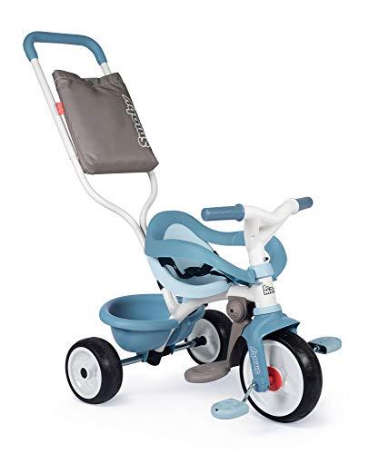 Smoby 740414 - Be Move Komfort blau - Kinderdreirad mit Schubstange, Sitz mit Sicherheitsgurt, Metallrahmen, Pedal-Freilauf, für Kinder ab 10 Monaten