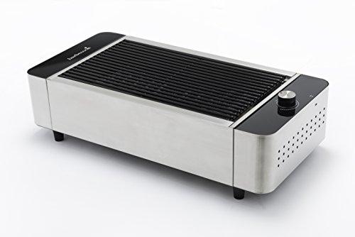barbecook Stabiler Tisch-Holzkohlegrill mit Aufbewahrungs-Tasche mit USB Anschluss zum Betreiben des Ventilators per Powerbank, Silber, 59 x 29 x 16 cm