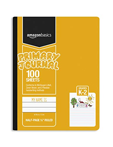 AmazonBasics Primary Journal 1/2' Ruled & Blank Space, 100-Sheet, 9.75' x 7.5', 15-Pack