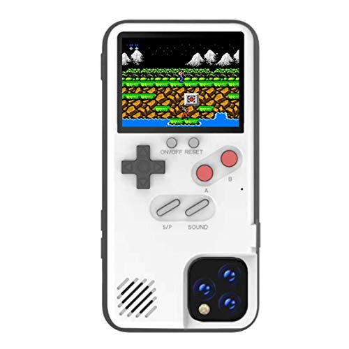 MWH Gameboy Case for iPhone 6/6S/7/8,Built-in 36 Retro Games,kobwa Mario Nintendo Games,Screen Protector,Full Color Screen Video Game Console Case for iPhone (White)