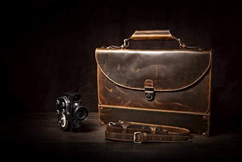 KALATING Personalisierte handgemachte echte Spitzenkorn Leder Herren Aktentasche Laptop Business - Tasche/bis zu 15 Zoll Laptop/Braun