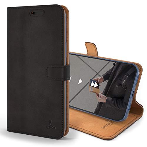 Snakehive iPhone 12 Pro Schutzhülle/Klapphülle echt Lederhülle mit Standfunktion, Handmade in Europa für iPhone 12 Pro (Schwarz)