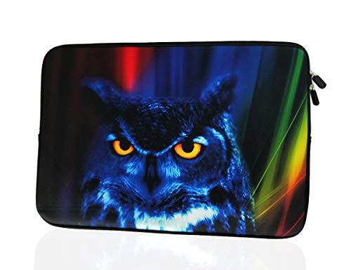 13.3-Inch to 14-Inch Laptop Neoprene Sleeve Case with Hidden Handle for 12.9 13 13.3 14 14.1' Inch Men Women Ultrabook/Chromebook/Tablet/Netbook (13.3-14 Inch, Blue Owl)