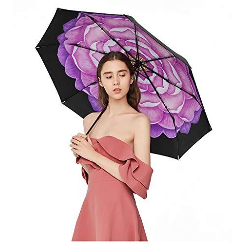 Sonnenschirm Sonnenschutzschirm Regen und Regen doppeltem Verwendungszweck faltende Tusche Blume Herzblüte chinesischer Wind Luohe Kleiner schwarzer Regenschirm (Color : Purple)