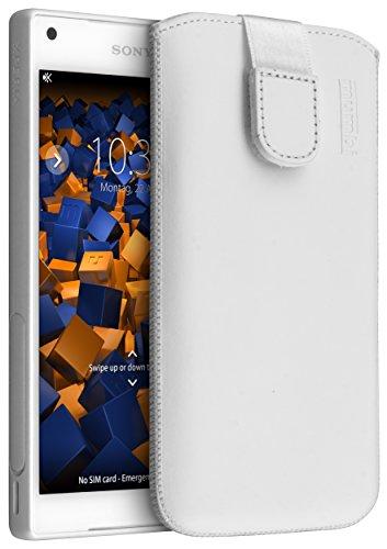 mumbi Echt Ledertasche kompatibel mit Sony Xperia Z5 Compact Hülle Leder Tasche Case Wallet, weiss