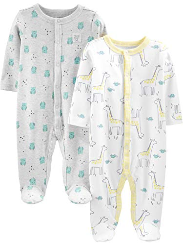 Simple Joys by Carter's Neutral 2-Pack Cotton Footed Sleep and Play Infant Toddler-Sleepers, Jirafa,...