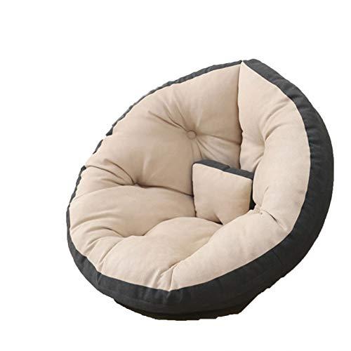 Wsaman Sofá portátil y acolchado suave y plegable, para tumbona perezosa, silla de almacenamiento, silla de juegos con transformable extraíble para leer, juegos, ver televisión, gris, M