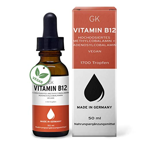 GK Vitamin B12 Tropfen hochdosiert (100% vegan) - 50ml 1700 Tropfen - 500μg Vitamin B12 hochdosiert je Tagesdosis - mit Methylcobalamin & Adenosylcobalamin gegen Vitamin B12 Mangel