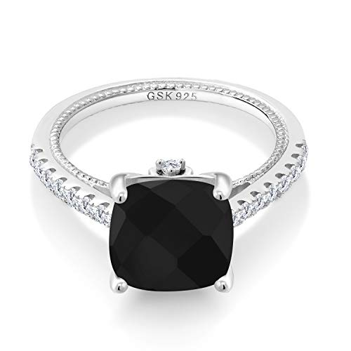 Gem Stone King 925 Sterling Silver Black Onyx and White Created Sapphire Women's Engagement Ring (4.07 Ct Cushion Checkerboard Cut 10MM) (Size 7)
