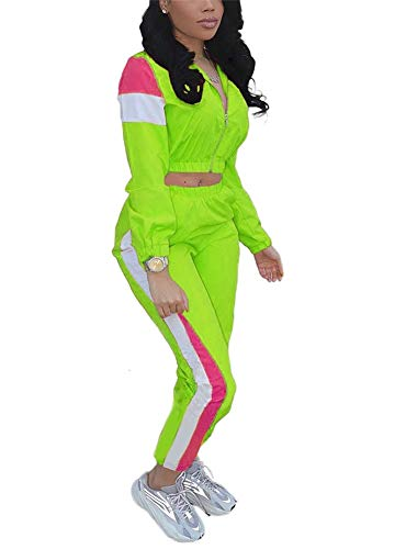 EOSIEDUR Women Casual Tracksuit 2 Piece Zip Top and Elastic Waistband Pant Women Windbreaker Tracksuit Sets Green XX-Large Size 14-16