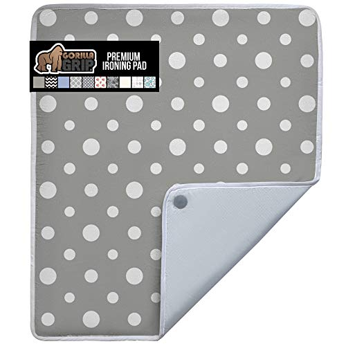 Gorilla Grip Ironing Pad, Magnetic Laundry Pad, Heat and Scorch Resistant, 28x24 Inch, Iron Board Mat for Table, Countertop, Washer, Dryer, Thick Durable Portable Pads Great for Travel, Dots