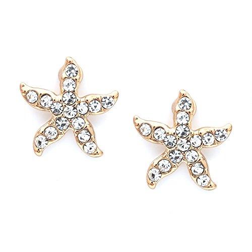 Idin Jewellery,orecchini a clip di colore dorato a forma di stella marina con cristalli