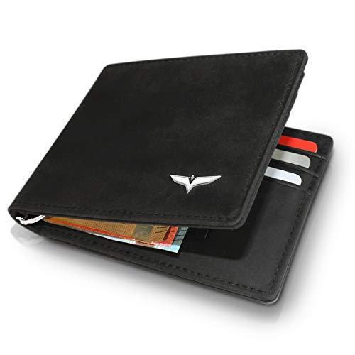 VAUREL VAUREL Kreditkartenetui mit Geldklammer aus hochwertigem Design Leder - Mini Geldbo?RSE mit 9 Kartenfa?Chern und RFID Schutz - Kartenetui fu?r Herren Blackbird
