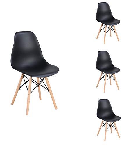 Sillas de comedor premontadas, estilo retro, asiento de plástico con patas de madera, sillas de plástico modernas de mediados de siglo para el hogar y la sala de estar (negro)