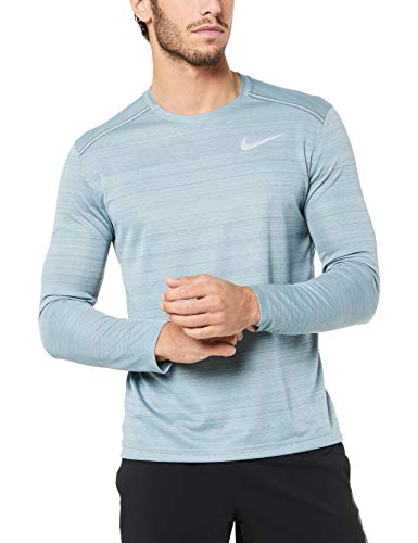 Nike Dry Miler Top Longsleeve, Maglia A Maniche Lunghe Uomo, Aviator Grey/Htr/Hasta/Reflective Silv, M