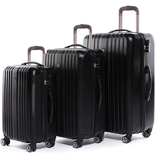 FERGÉ Kofferset Hartschale 3-teilig erweiterbar Toulouse Trolley-Set mit Handgepäck 3er Set Hartschalenkoffer Roll-Koffer Reise-Trolley mit 4 Rollen ABS schwarz