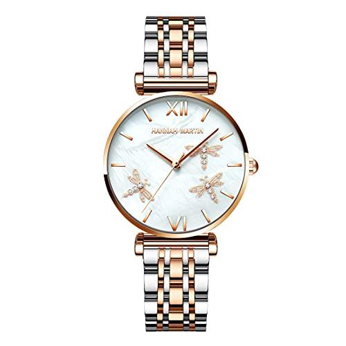 Xakay Reloj clásico analógico de cuarzo para mujer, resistente al agua, con correa de acero inoxidable, reloj de pulsera de moda con libélula 3D grabado y esfera de textura nácar