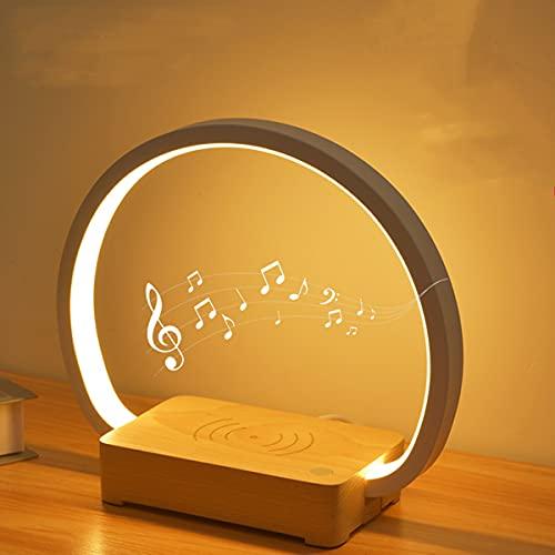 con Cargador Inalámbrico Mesa De Música Lamptouch Lámpara De Noche Lámpara De Noche con Altavoz Bluetooth Lámparas Táctiles LED Regulables para Dormitorios Sala De Estar Salón