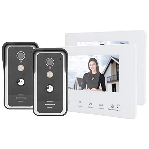 Videoportero Teléfono Timbre Sistema de intercomunicación 7 pulgadas 2-Wired Systerm Video Timbre Intercomunicador de 2 vías 2 cámaras 2 pantallas Visión nocturna Seguridad del hogar