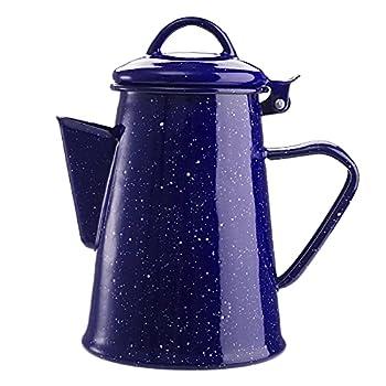 Jucoan Vintage Blue Enamel Coffee pot 30oz Camping Coffee Boiler Teapot for Stove Top Campfire