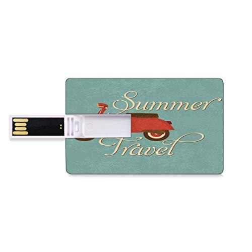 128G Unidades flash USB flash Decoraciones de los años sesenta Forma de tarjeta de crédito bancaria Clave comercial U Disco de almacenamiento Memory Stick Scooter de viaje de verano Vespa de vacacione