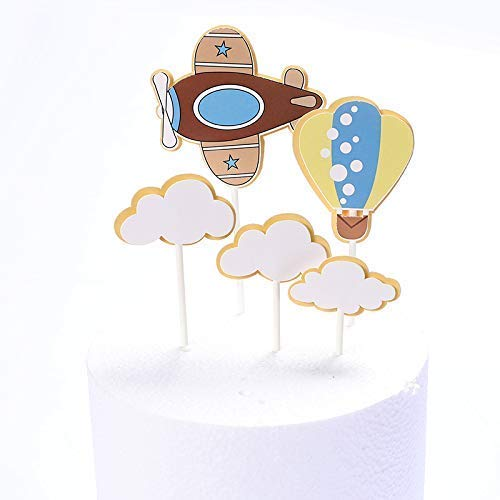 Aohua Cake Decoratie Plug Cloud Hot Balloon Vliegtuigen Children's Thema Verjaardag Cake Decoratie Set