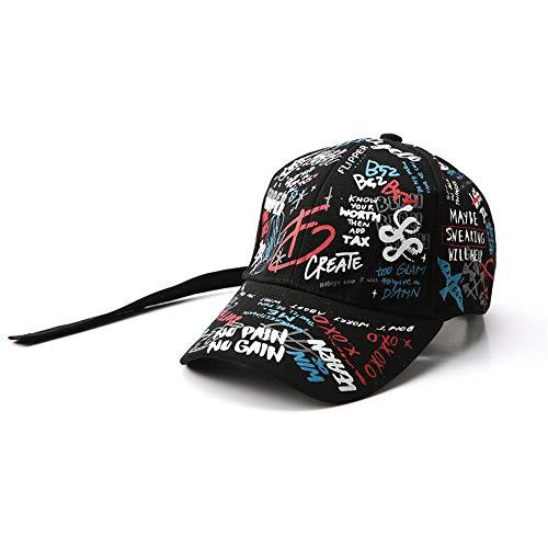 Preisvergleich Produktbild SSSGHH Basecap Herren Unisex Frauen Männer Hüte Einstellbare Schwarz Weiß Farbdruck Graffiti Allgleiches Baseball Cap Für Männlich Weiblich