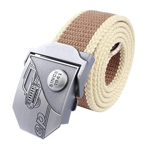 LKMY Mens Belts,Casual Canvas Belt Military Style with Metal Buckle,Mens Woven Stretch Braided Tactical Belt Buckle
