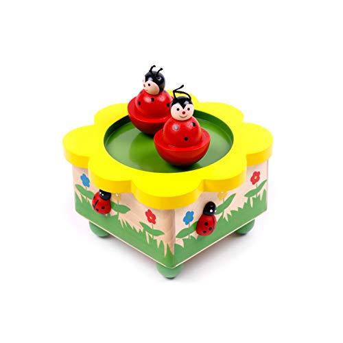 Brink Holzspielzeug Spieluhr mit tanzenden Marienkäfern Einschlafhilfe Blickfang für jedes Baby-Kinder-Zimmer