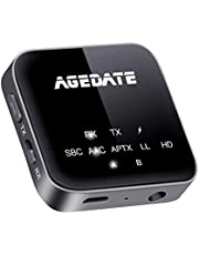 Agedate Bluetooth トランスミッター レシーバー 5.0 一台二役 Bluetooth 送信機 受信機 ハンズフリー通話 ブルートゥース トランスミッター aptx-LL apt-X HD対応