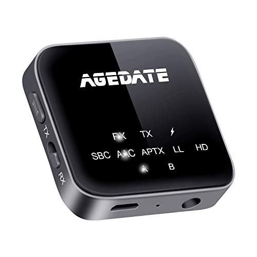 Agedate Bluetooth トランスミッター レシーバー 5.0 一台二役 Bluetooth 送信機 受信機 ハンズフリー通話 ...