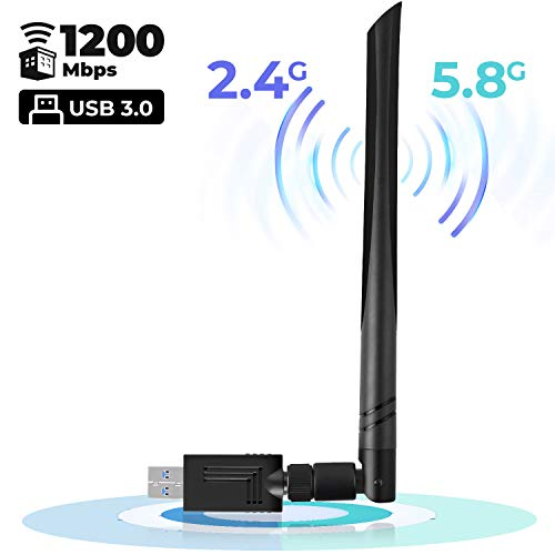 USB WiFi Adapter 1200Mbps USB 3.0 Wireless Network Adapter for PC Dual Band 2.4GHz/300Mbps+5.8GHz/866Mbps 5dBi High Gain Antenna Compatible with Windows XP/Vista/7/8/10 Mac OS