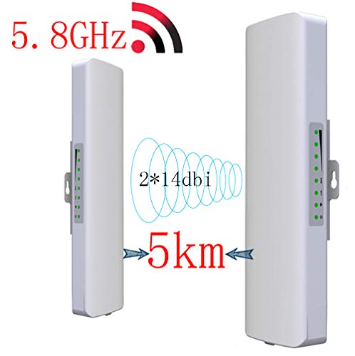 SHENGY 2-pack 5.8G Wireless Outdoor WLAN CPE netwerkbrug, 300 Mbps WiFi Repeater, 5 km Long Range-signaalontvanger, 2 * 14dbi antenne booster, voor PTP, PTMP toepassing (WDS)